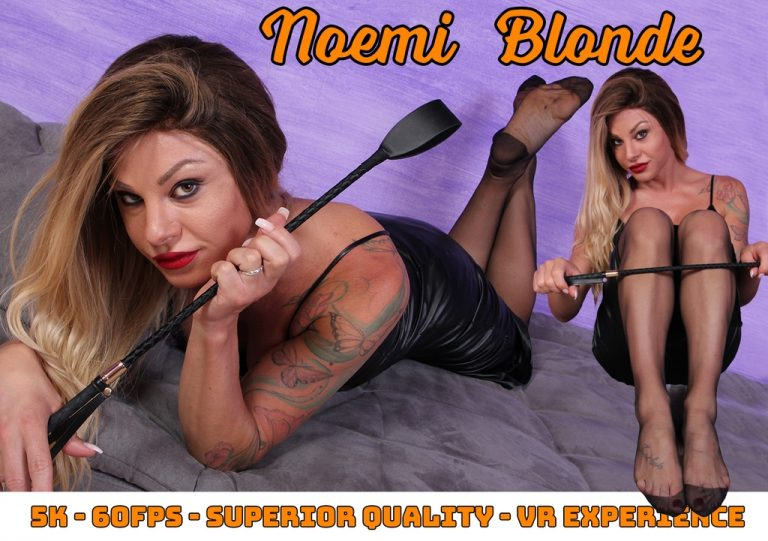 VRFootFetish - Sexy Mistress Noemi Blonde teases you with her nyloned feet